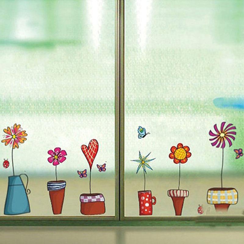 Cute Flower Wall Sticker Kitchen Window Glass Sticker Butterfies Wall Stickers Bathroom Glass Vinyl Wall Decal Kids Rooms Decor(China (Mainland))