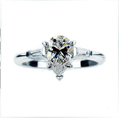 2015 New Arrival 1.41CT Drop Water Design Wedding Rings for Women Synthetic Diamond Engagement Ring 925 Sterling Silver Jewelry(China (Mainland))