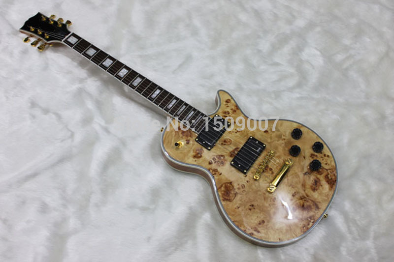 Custom Shop Chinese Guitar, Ebony fingerboard, EMG pickups, nature wood top, Golden Hardware, LP custom electric guitar(China (Mainland))