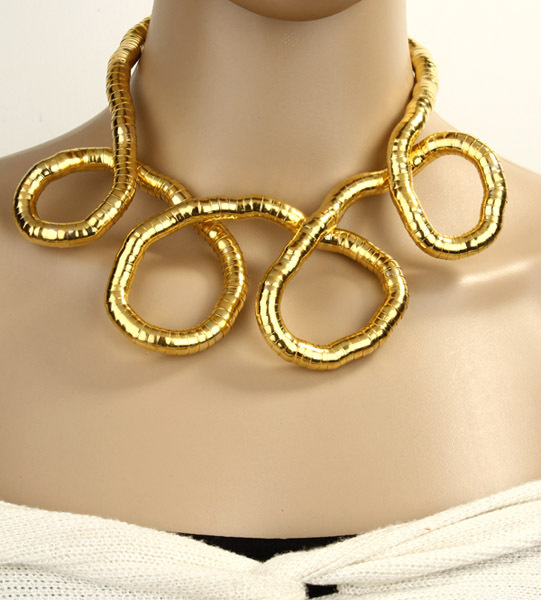 DIY Golden feast snaky twisty bendy necklace A36891B(China (Mainland))