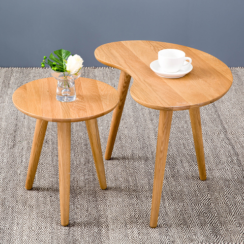 New nordic cr ative table de salon ovale table basse for Petite table en bois