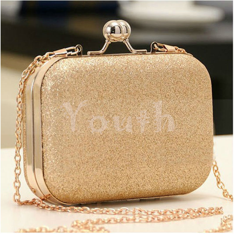 Promotion! 2015 Casual Encrusted Clutch Women Double Ball Clasp Metal Frame Evening Bag Gold Shining Handbag Party - RC011 Youth Store., Ltd store