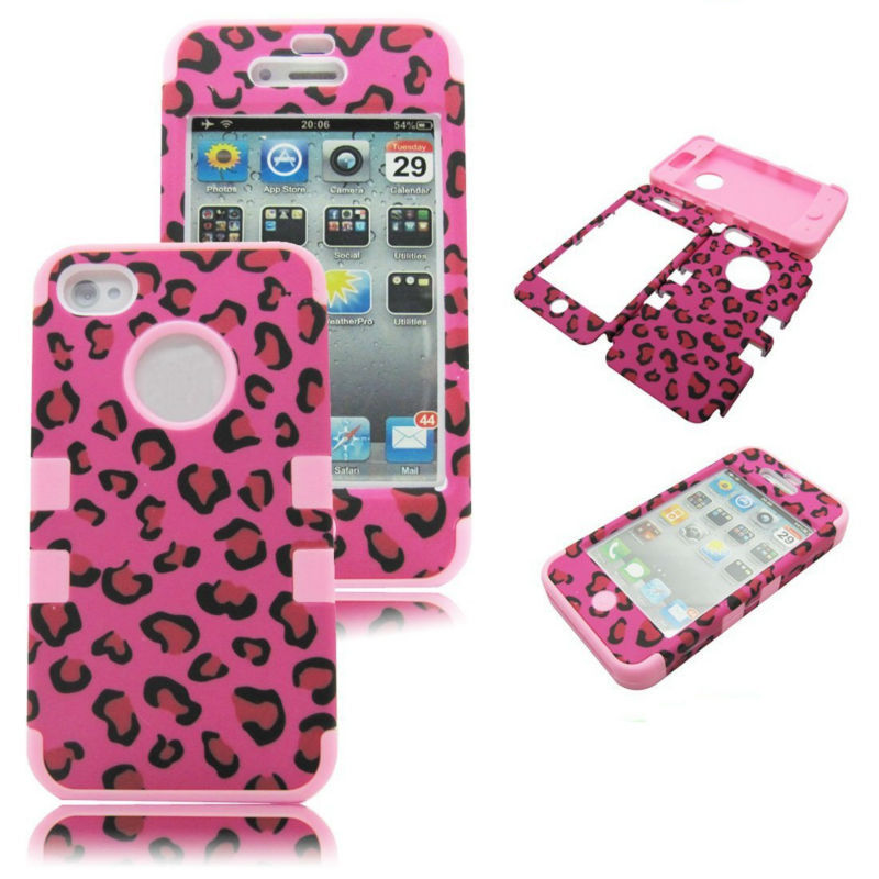 Hot Pink Stylish Leopard PC+Silicone Anti-shock Combo Robot Case For iPhone 4S 4G(China (Mainland))