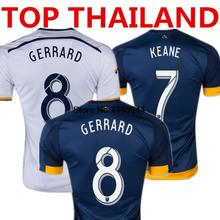Soccer Jersey La Galaxy 2016 Galaxy Steven GERRARD DONOVAN David BECKHAM Los Angeles La Galaxy 15/16 Home White Away Blue Shirt(China (Mainland))
