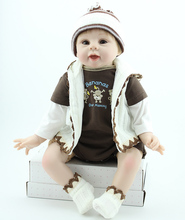 Buy 22inch Real Life Silicone Cute Boy Alive Reborn Baby Doll Kits Girls Playhouse Stuffed Toys Women Nursery Training Gifts