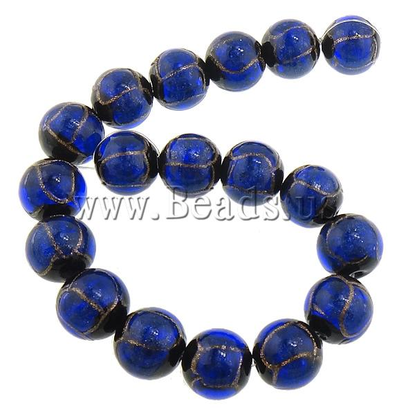 Free shipping!!!Gold Sand Lampwork Beads,Whole sale, Round, blue, 16mm, Hole:Approx 2mm, Length:Approx 11 Inch, 5Strands/Lot