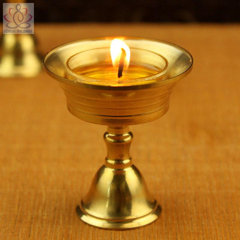 Copper Candle holder Ghee Lamp Holder 2pcs/Set Tibetan Butter Brass Oil Lamp Buddhist Supplies Metal Craft Home Decor(China (Mainland))