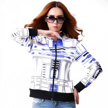 new women autumn jacket fashion R2D2 printing pattern leather coat outwear for cosplay costumn free shipping(China (Mainland))
