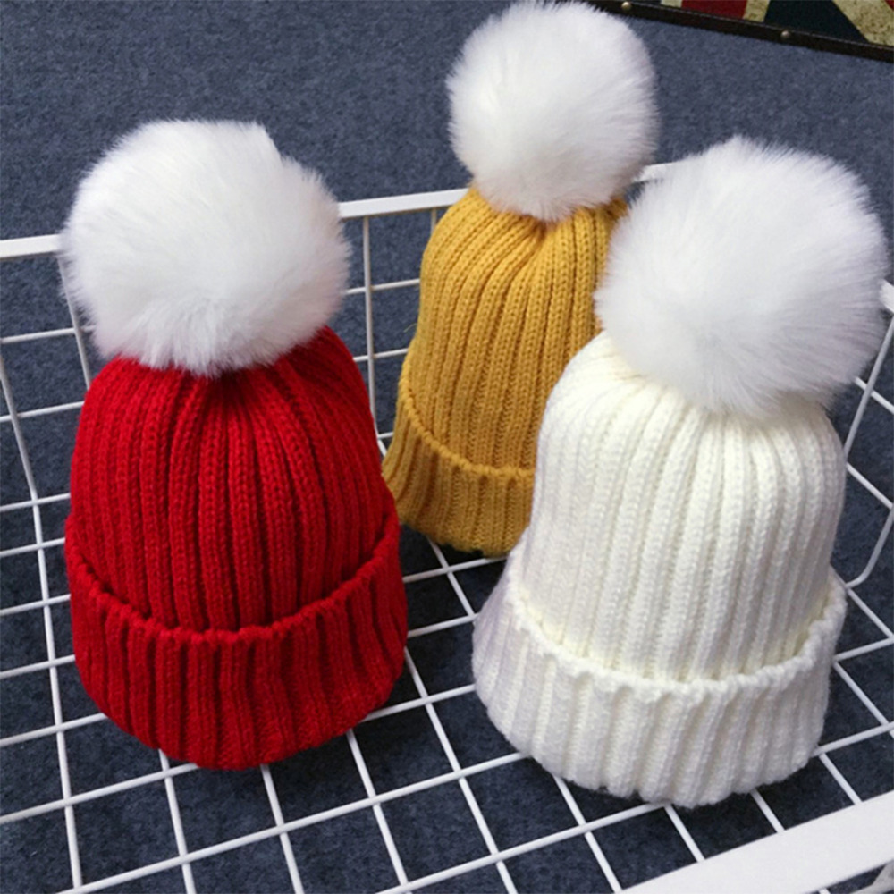 2016 New Children Winter Hat Knitted Cap Boys Girls Sweet Warhammer Hats wool caps Thick Solid Color Cute Baby Ball Kids Hood(China (Mainland))