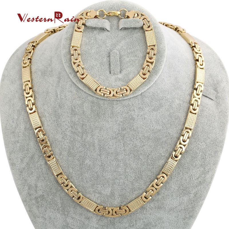 Free Shipping New Arrival Top Quality Dubai Gold Jewelry Mens Necklace And Bracelet Set Stainless Steel Jewelry Set F5605 <br><br>Aliexpress