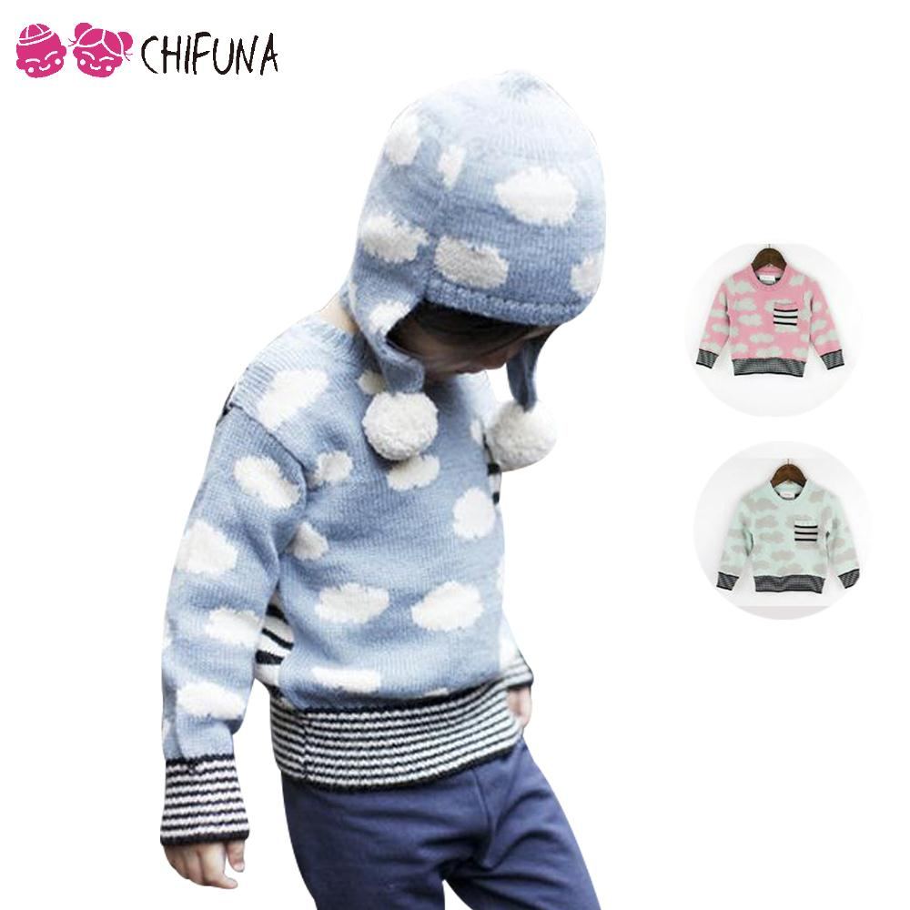 2016 New Spring Autumn Kids Cute Cloud Pattern Sweaters For Boys Girls Baby Fall Striped Cardigan Sweater Knit Children Clothing(China (Mainland))