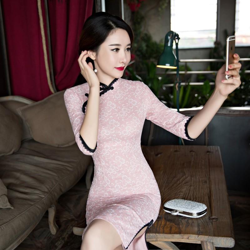 ใหม่Mujerวินเทจของผู้หญิงผ้าฝ้ายสั้นCheongsamแฟชั่นสไตล์จีนชุดที่สง่างามQipaoขนาดSml XL XXL XXXL F101031 ถูก