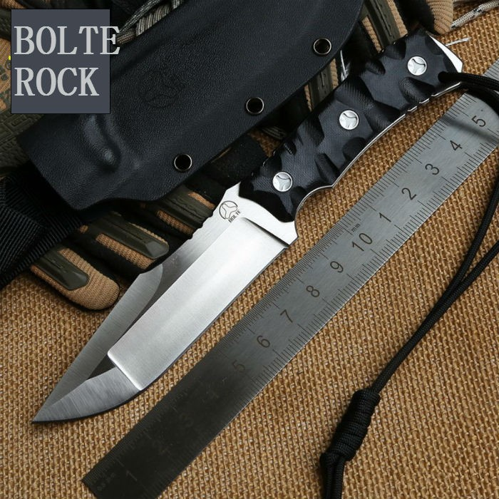 Buy New ROCK Fixed D2 Blade Knife Bolte Survival Knives Hunting Tactical Knifes G10 Handle With Kydex Sheath Camping Outdoor Tools cheap