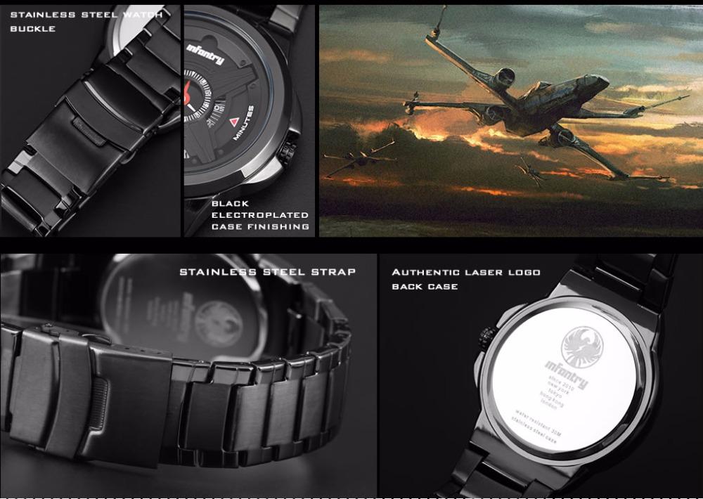 INFANTRY Mens Quartz Watches Luxury Waterproof Relogio Masculino Stainless Steel Strap Sport Watches Military Aviator Wristwatch