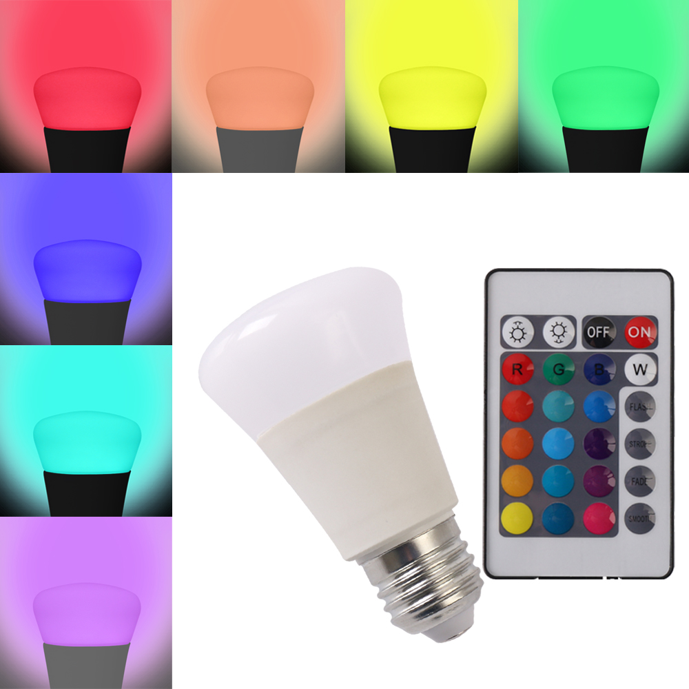 5W E27 RGB Lamp 16 Colors Intelligent LED Light Bulb Lamps Spotlight+IR Remote Control Candle Lamp Ball Lights For Decoration(China (Mainland))