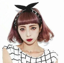 New Europe and America Hair accessories Chiffon Bunny Ear Metal Chain Headbands