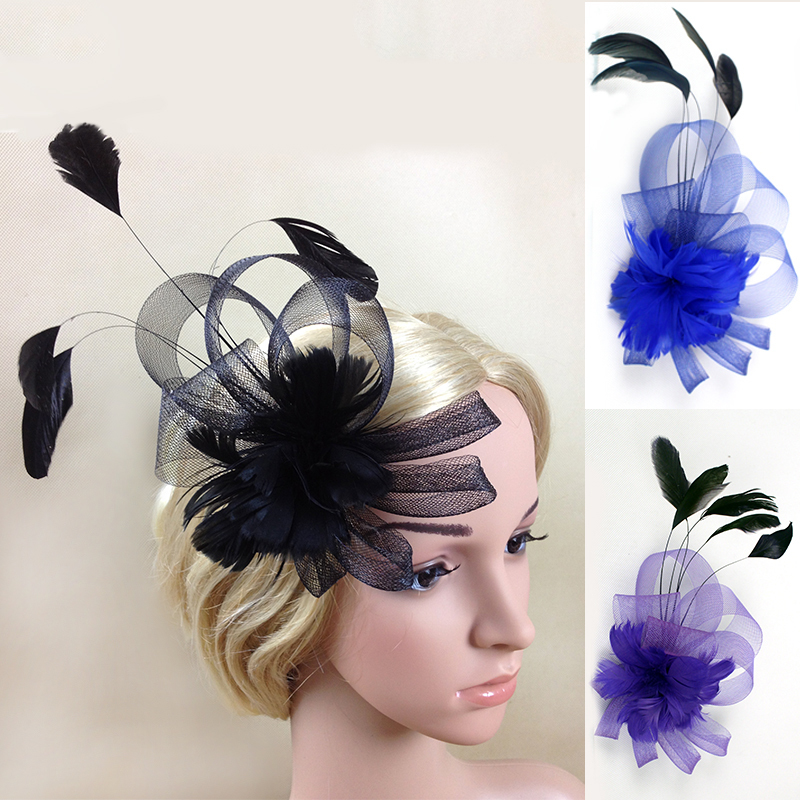 2pcs/lot, New Design fascinator flower feather sinamay fasinator women hair accessories elegant fascinators for wedding races(China (Mainland))