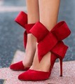 Fashion women s shoes pointed toe big Bowtie thin heels high heels sandals shoes female wedding