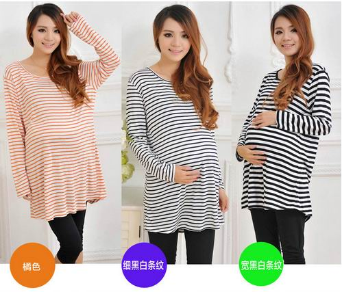 spring and summer plus size stripes maternity T-shirt 100%cotton long-sleeve O-neck basic shirt pregnant woman outwear