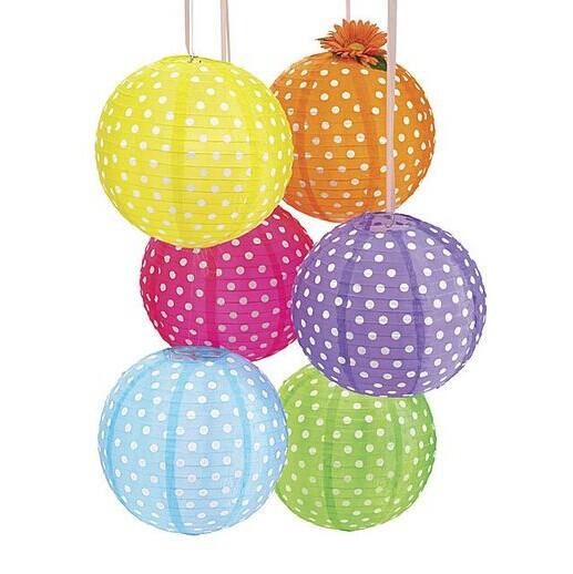 "10""(25cm) Polka Dot Lantern Organza lanterns Hanging Decoration Dotted Paper Lantern Decorations(China (Mainland))"