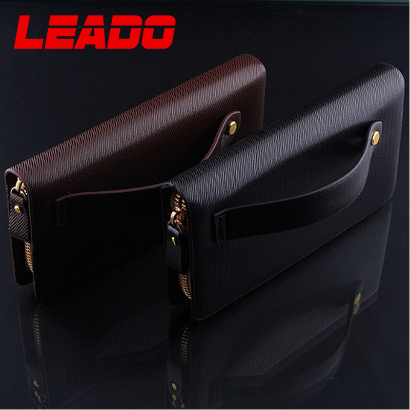 2015 Zipper Long Men's Clutch Wallet Quality Leather With Solid Black Brown Color Men Fashion Style Purse for Phone Package(China (Mainland))