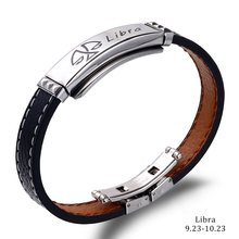 High Quality 12 Constellations Bracelet 2019 Fashion Jewelry Black Leather Stainless Steel Men Casual Zodiac Signs Punk Bracelet(China)