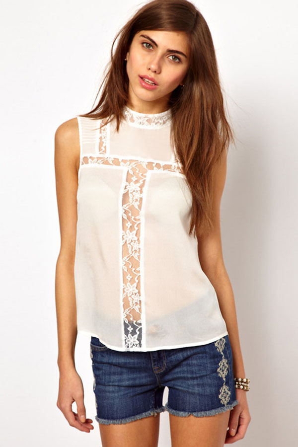 Ladies White Sleeveless Shirt | Is Shirt