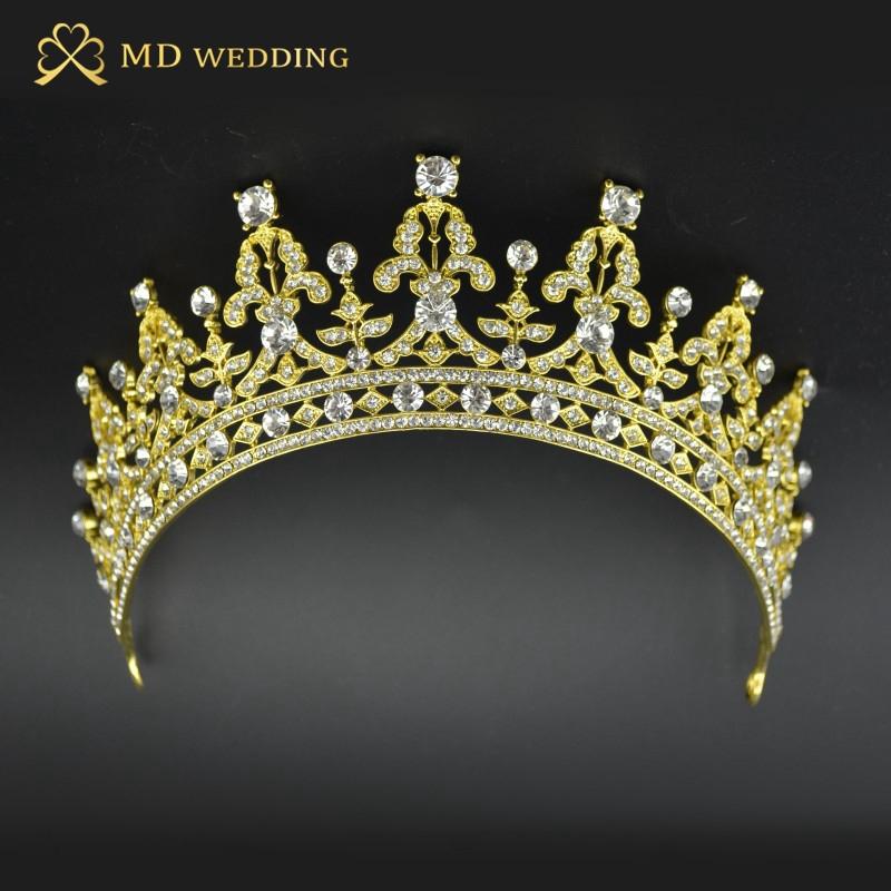 Gold Silber zwei Ton Braut Tiara Krone Kristall Pageant Braut Hochzeit Zubehör Kopfstück Stirnband Hochzeit Tiara(China (Mainland))
