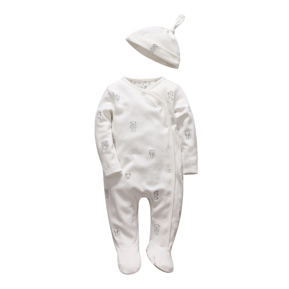tender Babies girl Boys rompers Soft long sleeve Cartoon Animal infantil newborn baby clothes white cotton infant jumpsuit + Hat(China (Mainland))