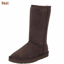 INOE suede high snow boots for women winter shoes sheepskin leather fur lined big girls tall wool thigh winter boots black brown(China (Mainland))