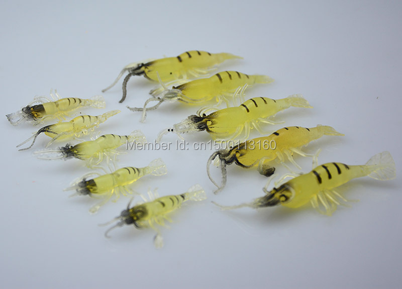 10Pcs Artificial Fishing Lure Bionic Shrimp Soft Bait Fishing Tackle Lifelike Fishy Smell Pesca Lures small and big size(China (Mainland))