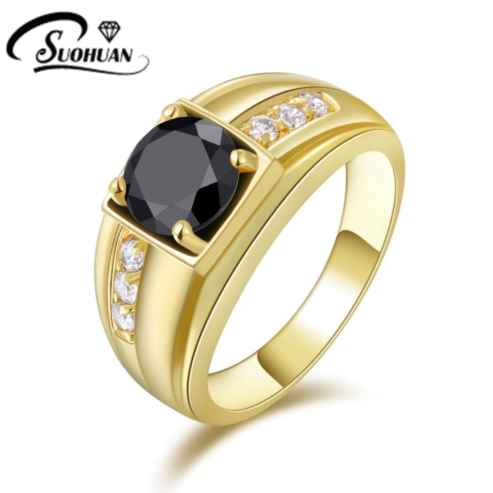 New Fashion Man's Jewelry Size 8 9 10 11 Male Black Sapphire rings Cz 18K Yellow Gold Filled Ring for men R057(China (Mainland))