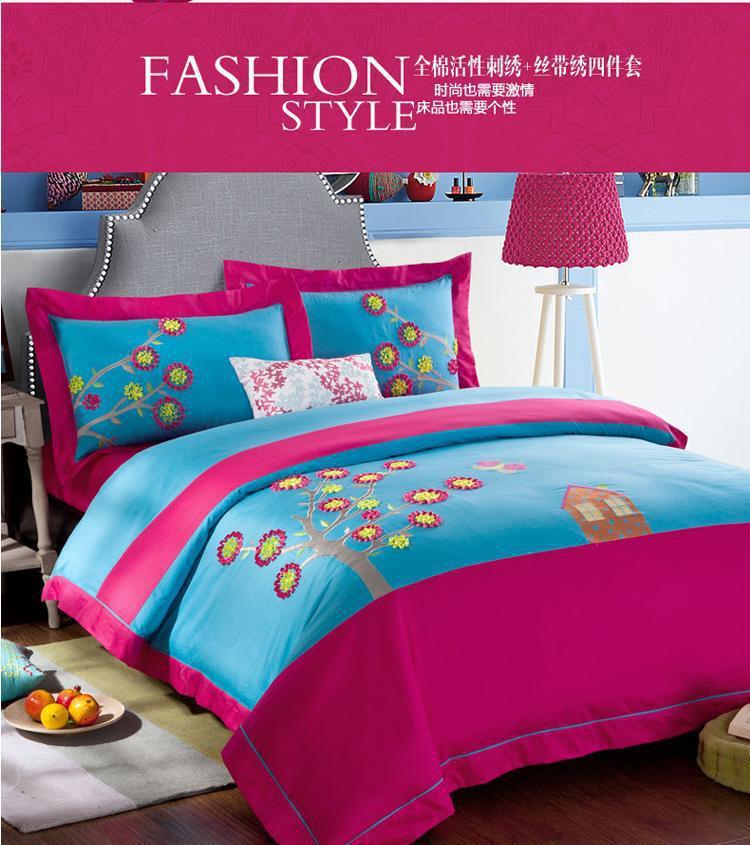 blue pink colorful designer brand bedding sets king queen size