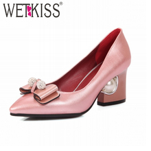 6 Colors Super Big Size 31-48 Elegant Women Pumps Bead Charm Cozy Thick High Heels Shoes Woman Bowtie Lady's Pointed toe Pumps(China (Mainland))