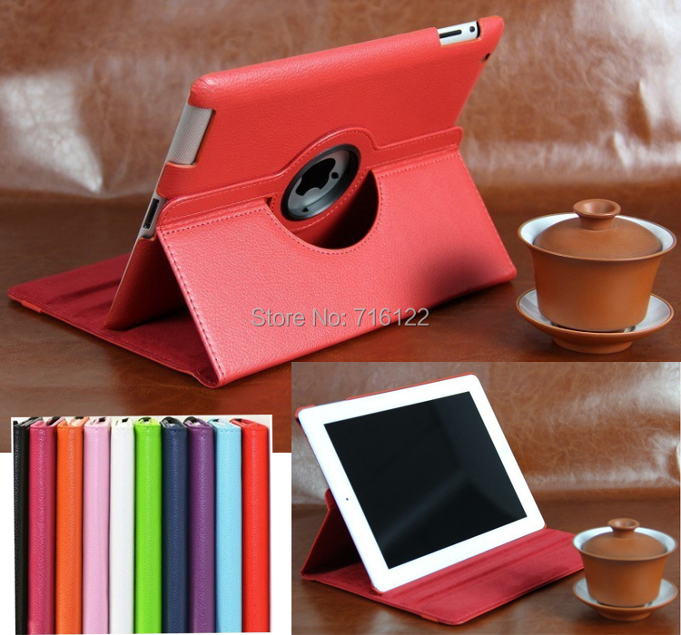 ew 2014 Korean Ultra thin Flip Pu Leather 360 Degree Rotating Cases Smart Cover Stand For New APPLE iPad 2 3 4 Free Shipping(China (Mainland))