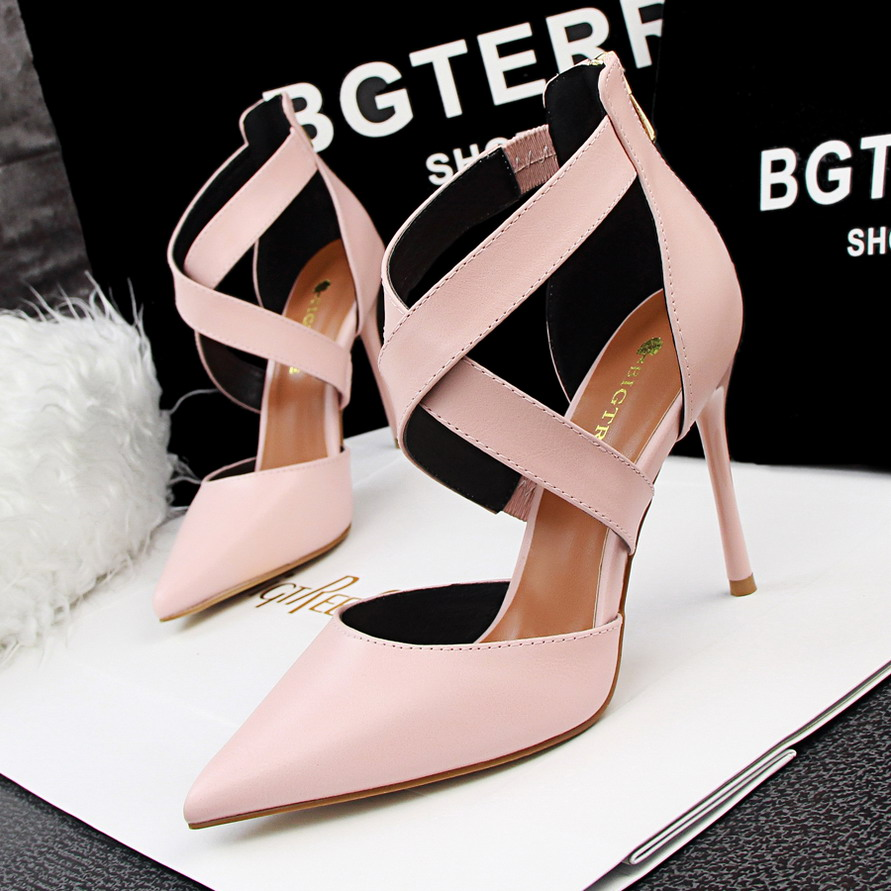 SMYDS-A0090 2016 Summer Brand Design Shoes Women Four Season High Heel Pointed Toe Pumps Strappy Evening Shoes Beige Pink Black(China (Mainland))