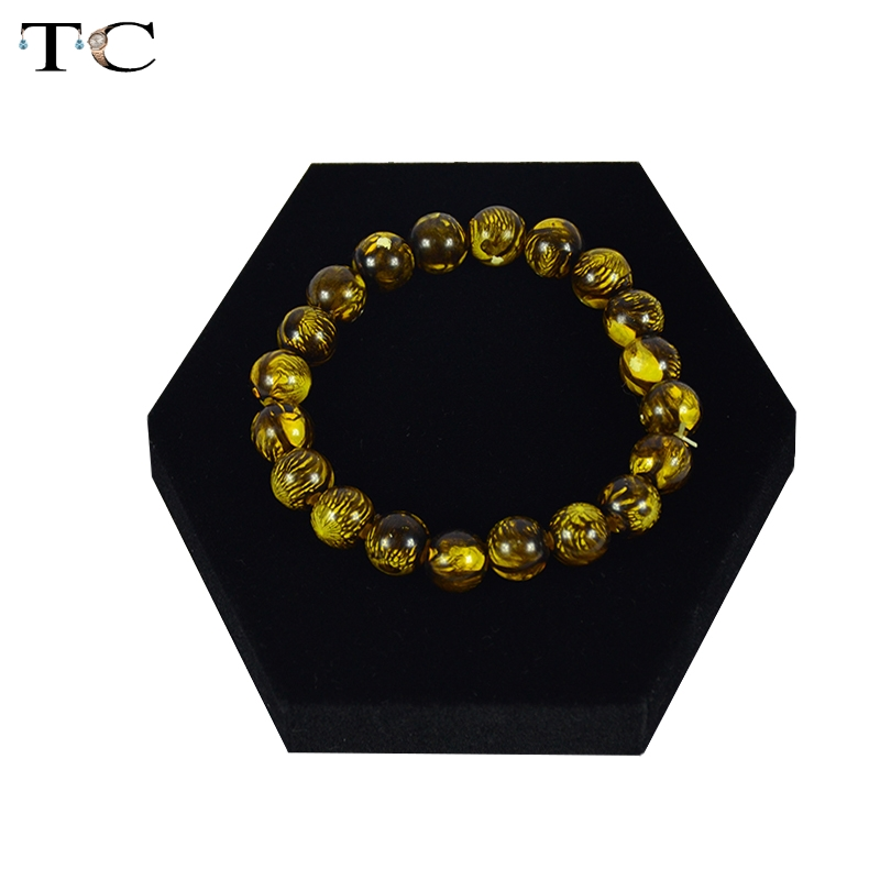 MDF Board Jewelry Display Tray Bracelet Stand Black Velvet 10x10x2cm Jewellery Organizer Cases(China (Mainland))