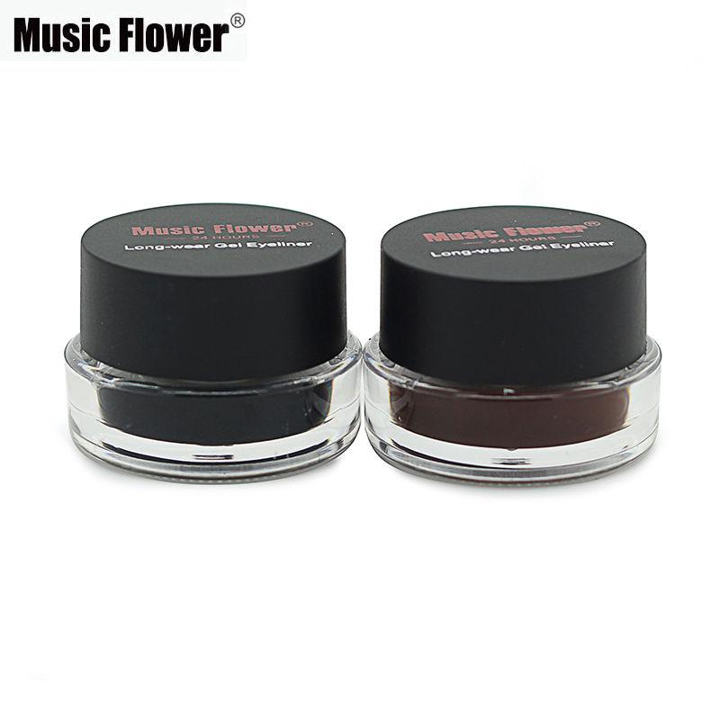 Best 2 in 1 Brown + Black Gel Eyeliner Make Up Water-proof Smudge-proof Set Eye Liner Kit Eye Makeup With 2 Cosmetics Brushes