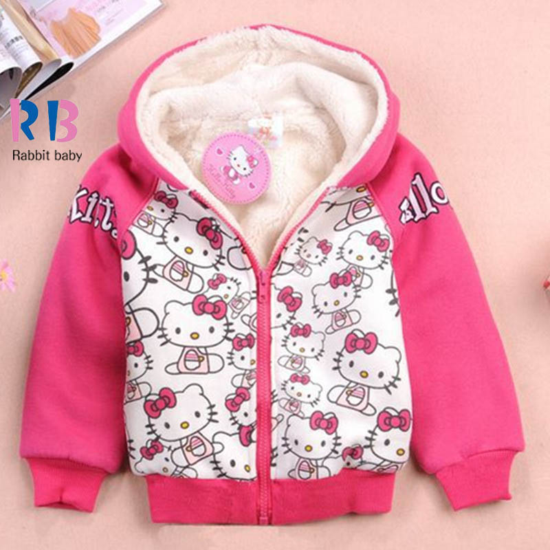 Kids clothes girl thick winter plus velvet hoodie jacket Hello Kitty cartoon children long-sleeved sweater coat free shipping(China (Mainland))