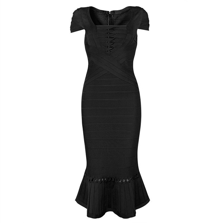 Claire Sunshine 2015 Mermaid Cap Sleeve Black Fishtail Hollow Out Square Collar Rayon HL Bandage Dresses Womens Dresses HL134Одежда и ак�е��уары<br><br><br>Aliexpress