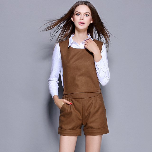 Новое прибытие осень 2016 женская мода набор костюм тонкий белый простой рубашки верхней и Комбинезон ползунки шорты из двух частей набор Q1830