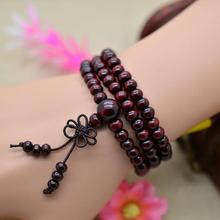 6mm 108 Beads Natural Sandalwood Buddhist Buddha Wood Bracelets Vintage Women Men Jewelry Meditation Prayer Bead Necklace(China (Mainland))