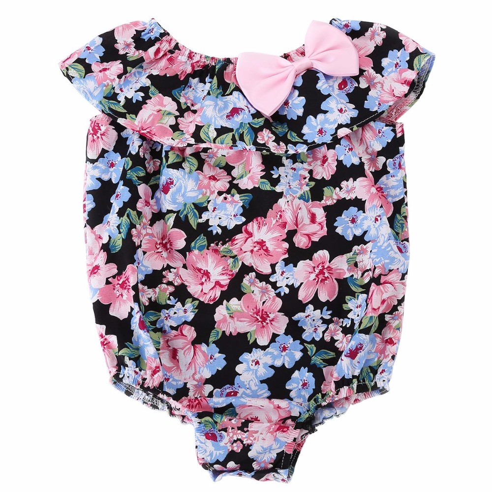 Loose Cotton Butterfly-knot Rosette Summer Beach Baby Girl Clothes,Sleeveless Infantil Menina Rompers Toddlers Playsuits #7E1034(China (Mainland))