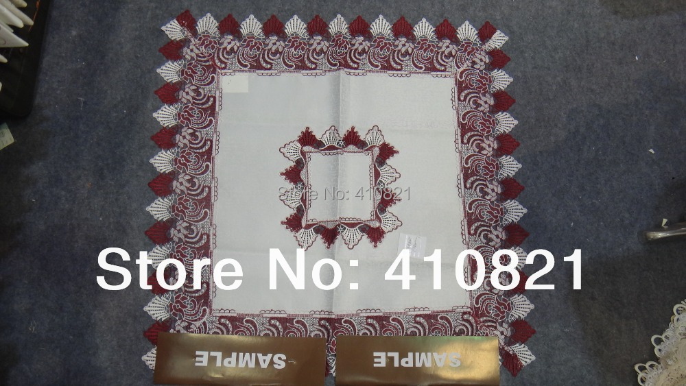 36 inch 100% polyester jacquard table cover two colored( burgundy white) lace Christmas party decoration free ship - Qingdao Best Embroidery cloth Co., Ltd. store