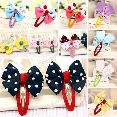 2 Pcs/lot children hairpin for girls baby hair bows clip bb jewelry boutique Korean style wholesale hair accessories B-7(China (Mainland))