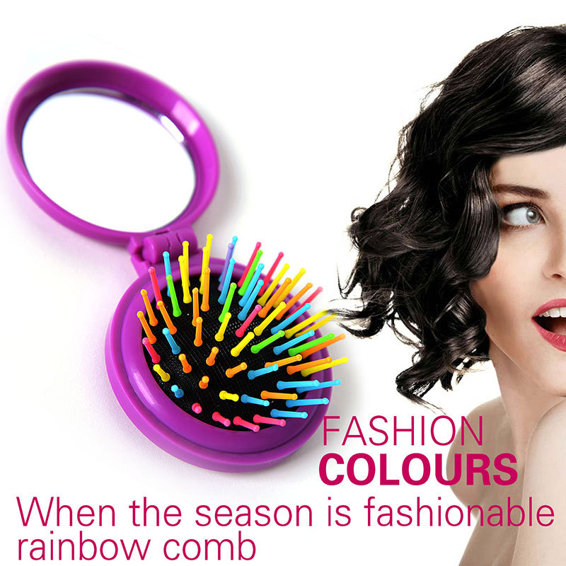 2015 Rainbow Volume Hair Brushs Magic Hairbrush for Hair Tangle Hair Brush Women Comb Candy With Mirror Combs Hair Styling Tools(China (Mainland))