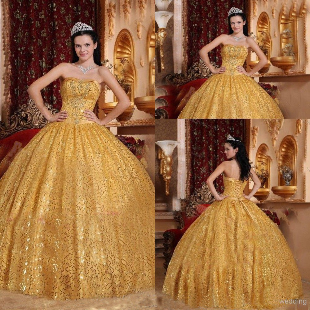 Gold Sequins Quinceanera Dresses Sweetheart Open Back Beads Ball Gown Corset Floor Length Princess Prom Party Gowns Dress LW - top_cathay2015 store