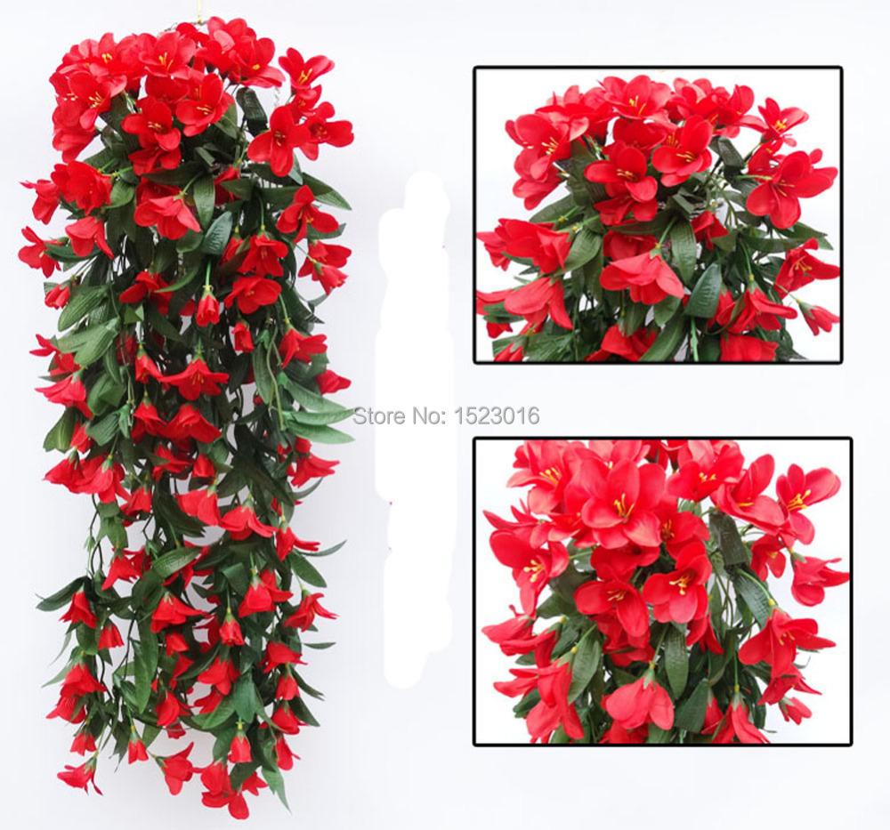 2PCS Artificial Silk 80cm Lily Flower Vine Bracketplant Wall Hanging Garland Rattan Plant Room Balcony Wedding Home Decoration(China (Mainland))