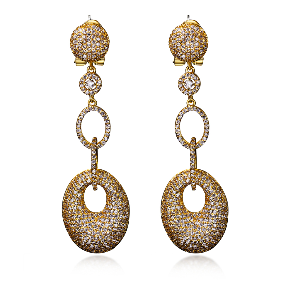67mm Long Drop Earrings! Professional Party Jewelry Supplier! Micro Setting 3A clear Cubic Zirconia Gold/Rhodium Plate Earrings(China (Mainland))
