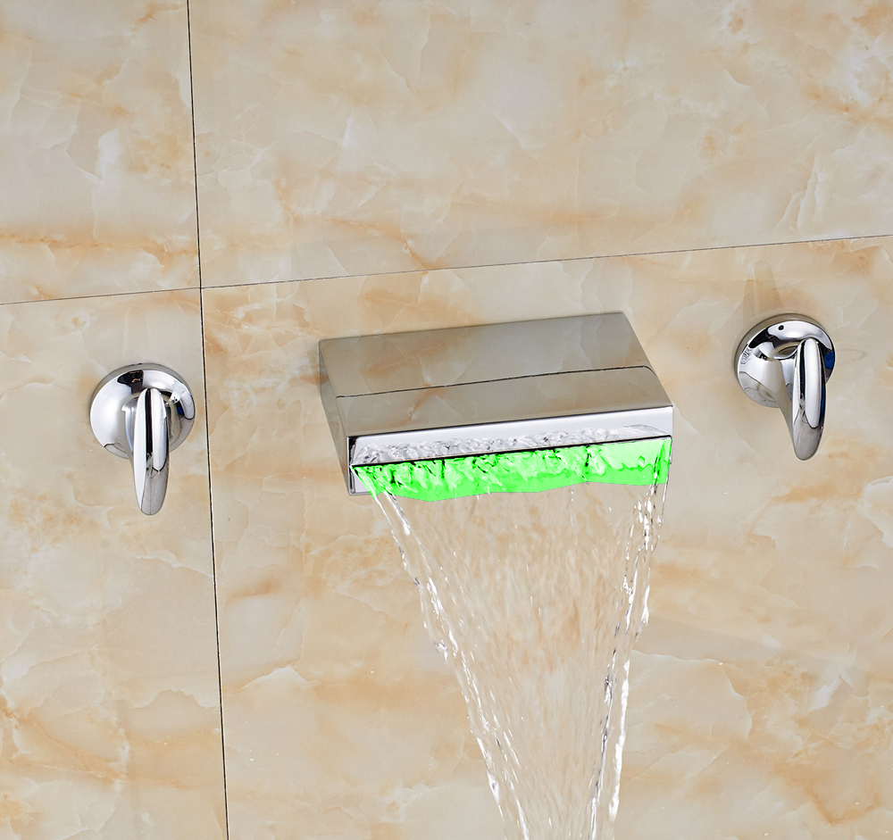 New Chrome LED Waterfall Widespread Bathroom Basin Faucet Dual Handles Mixer Tap